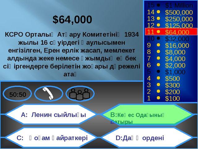 A: Ленин сыйлығы C: Қоғам қайраткері B:Кеңес Одағының Батыры D:Даңқ ордені 50...