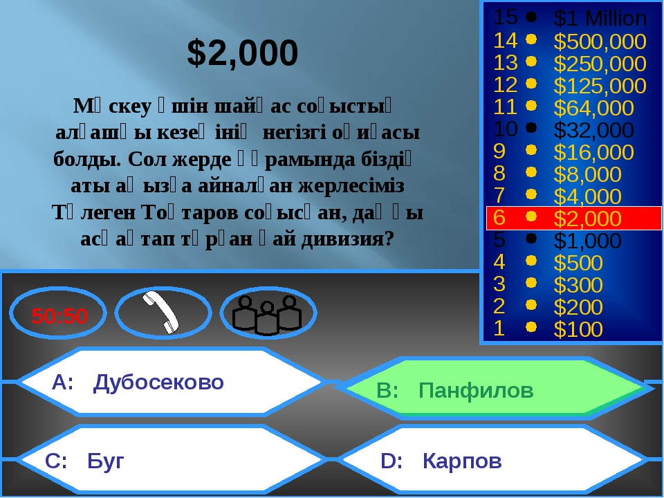 A: Дубосеково C: Буг B: Панфилов D: Карпов 50:50 15 14 13 12 11 10 9 8 7 6 5...