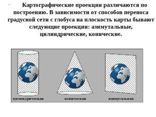 Картографические проекции различаются по построению. Взависимости от сп