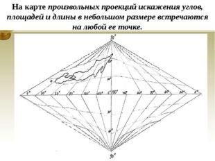 На карте произвольных проекций искажения углов, площадей и длины в небольшом