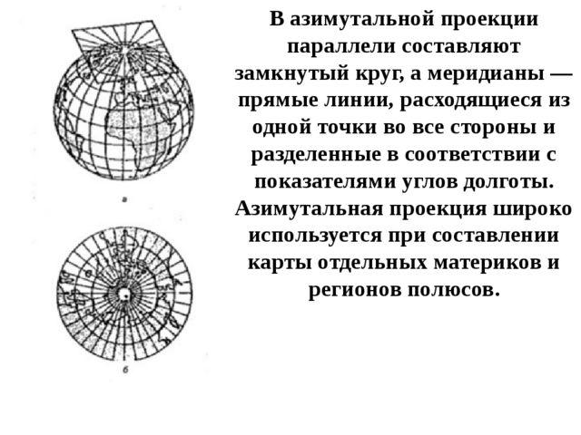 В азимутальной проекции параллели составляют замкнутый круг, а меридианы — пр...