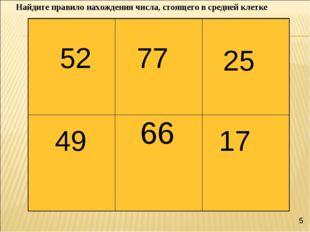 52 77 25 49 17 66 Найдите правило нахождения числа, стоящего в средней клетке