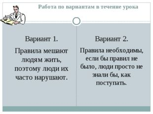Работа по вариантам в течение урока Вариант 1. Правила мешают людям жить, поэ