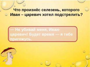 Что произнёс селезень, которого Иван – царевич хотел подстрелить? — Не убивай