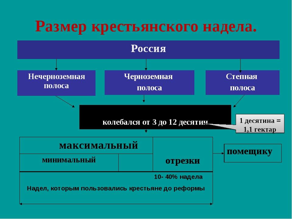 Размер крестьянского надела. 1 десятина = 1,1 гектар Россия Нечерноземная пол...