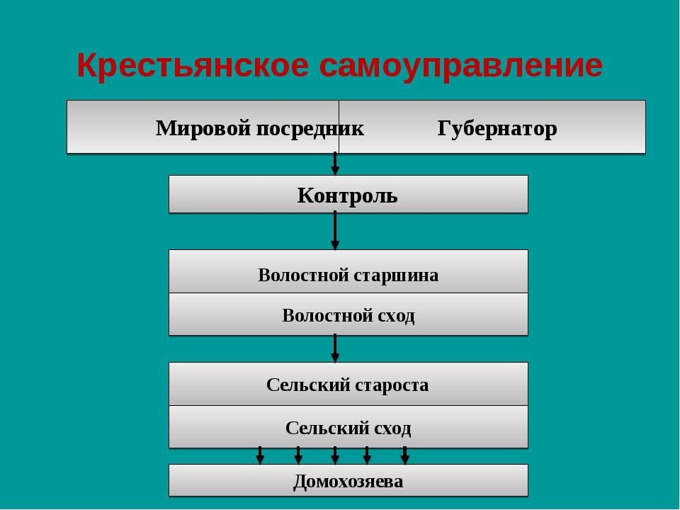 Крестьянское самоуправление Мировой посредник Губернатор Контроль Волостной с...