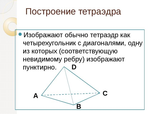 Построение тетраэдра Изображают обычно тетраэдр как четырехугольник с диагона...