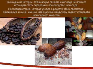 Как видно из истории, тайна вокруг рецепта шоколада не помогла испанцам стать