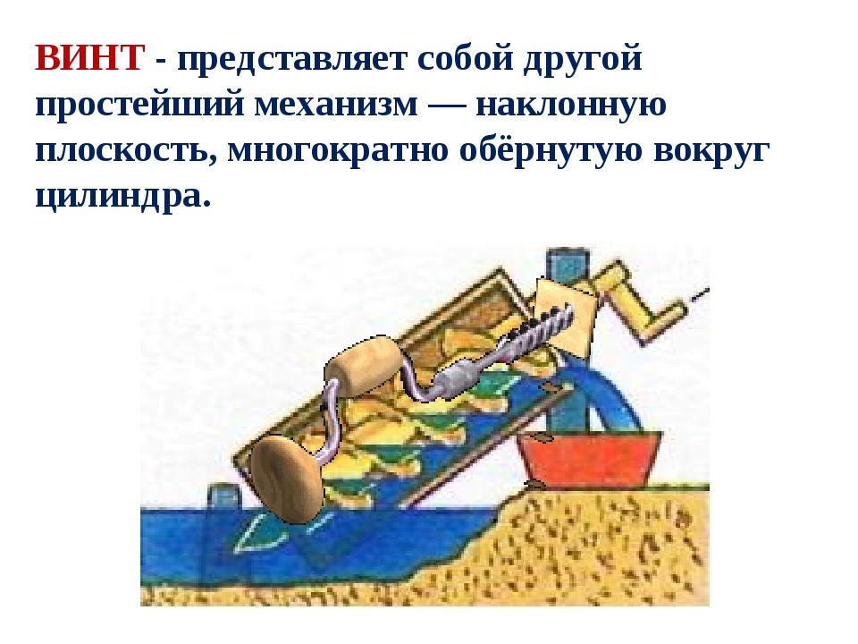 ВИНТ - представляет собой другой простейший механизм—наклонную плоскость, м...