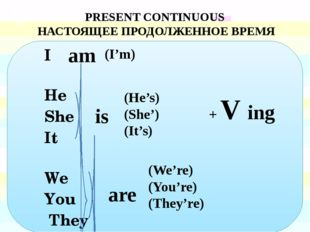 I He She It We You They PRESENT CONTINUOUS НАСТОЯЩЕЕ ПРОДОЛЖЕННОЕ ВРЕМЯ (He'