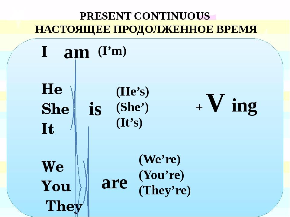 I He She It We You They PRESENT CONTINUOUS НАСТОЯЩЕЕ ПРОДОЛЖЕННОЕ ВРЕМЯ (He'...