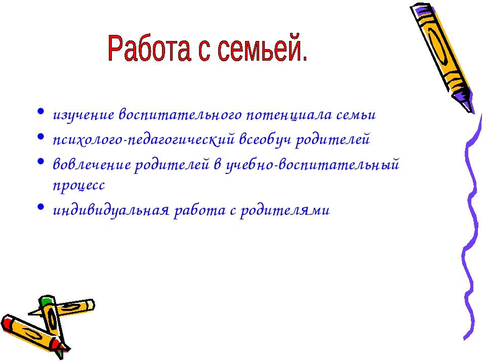 изучение воспитательного потенциала семьи психолого-педагогический всеобуч р...