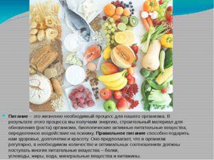Питание – это жизненно необходимый процесс для нашего организма. В результате