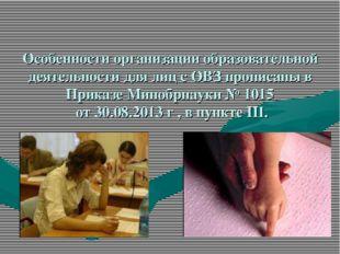 Особенности организации образовательной деятельности для лиц с ОВЗ прописаны