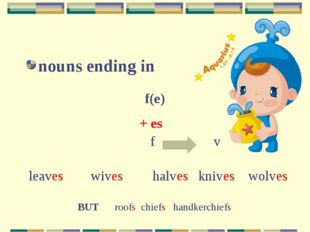 nouns ending in f(e) + es leaveswiveshalves knives wolves f v BUT roofs ch