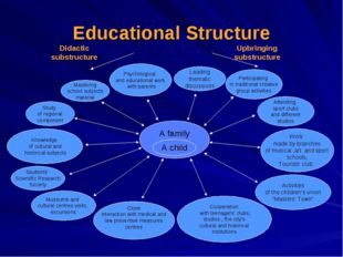 Educational Structure Leading thematic discussions Work made by branches of m