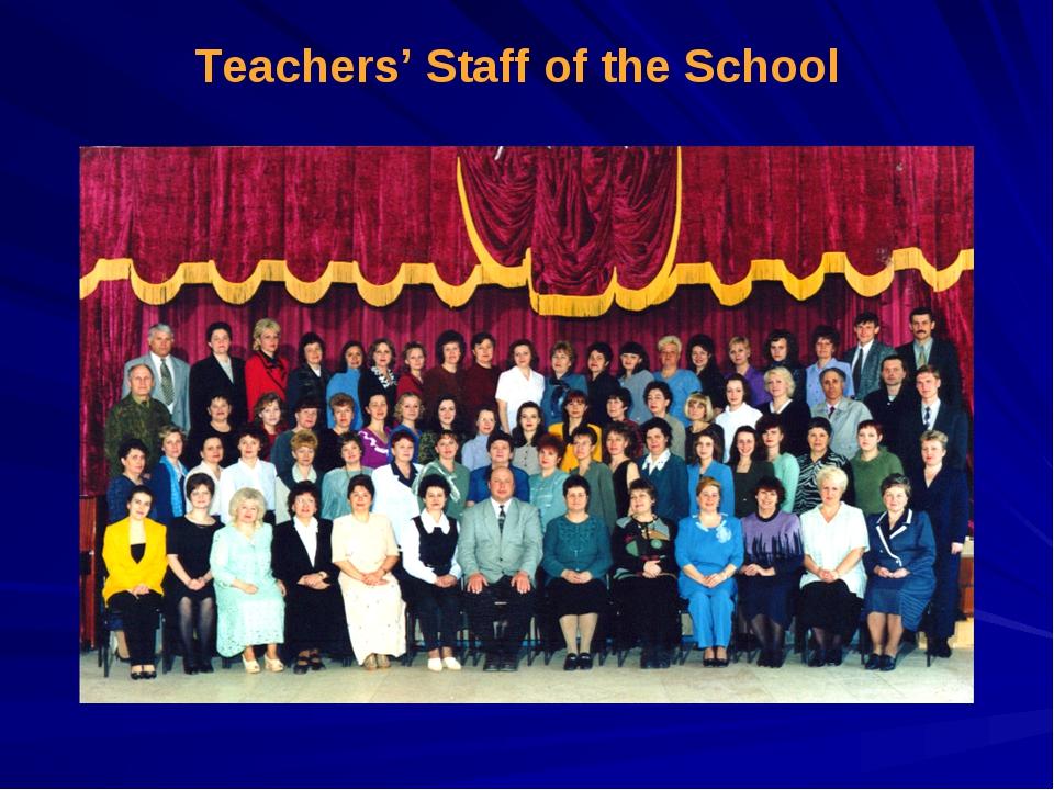 Teachers' Staff of the School