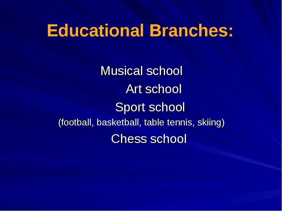 Educational Branches: Musical school Art school Sport school (football, baske...