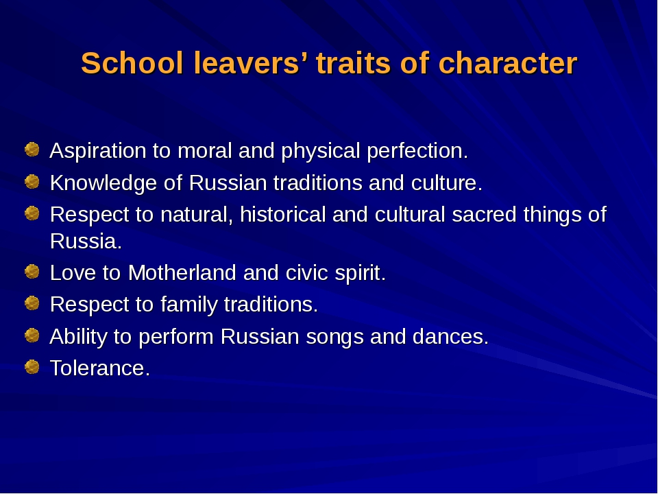 School leavers' traits of character Aspiration to moral and physical perfecti...