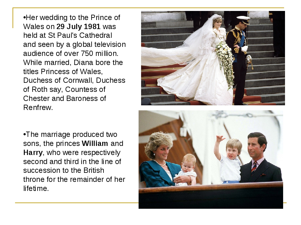 Her wedding to the Prince of Wales on 29 July 1981 was held at St Paul's Cath...