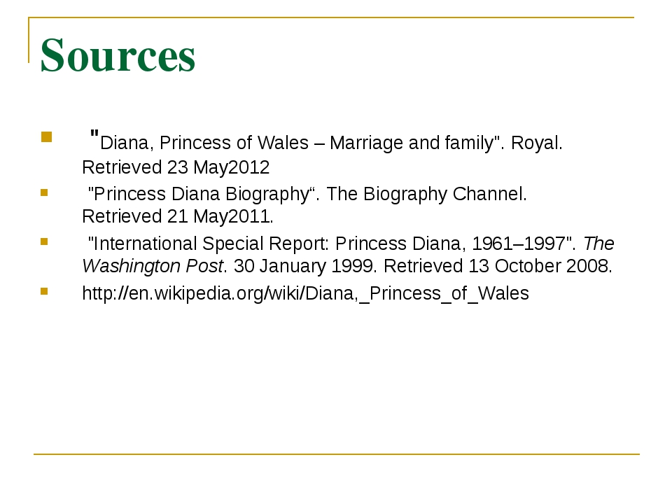 """Sources """"Diana, Princess of Wales – Marriage and family"""". Royal. Retrieved2..."""