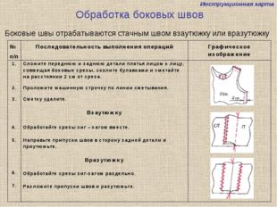 Инструкционная карта Обработка боковых швов Боковые швы отрабатываются стачны