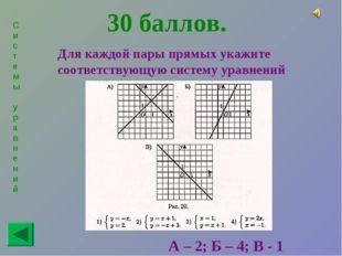 Системы уравнений 30 баллов. Для каждой пары прямых укажите соответствующую с