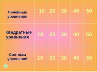 Линейные уравнения 10 20 30 40 50 Квадратные уравнения 10 20 30 40