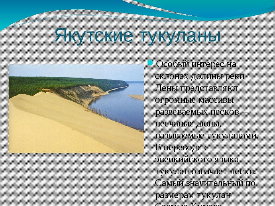 Якутские тукуланы Особый интерес на склонах долины реки Лены представляют огр...