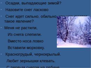 Осадки, выпадающие зимой? Назовите снег ласково Снег идет сильно, обильно, к