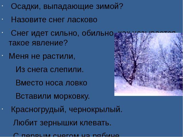 Осадки, выпадающие зимой? Назовите снег ласково Снег идет сильно, обильно, к...