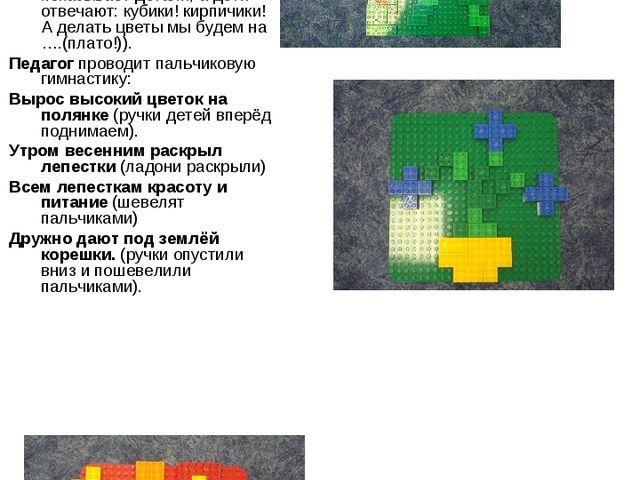 Педагог: А у нас вами в лего – конструкторе разноцветные детали из которых мы...