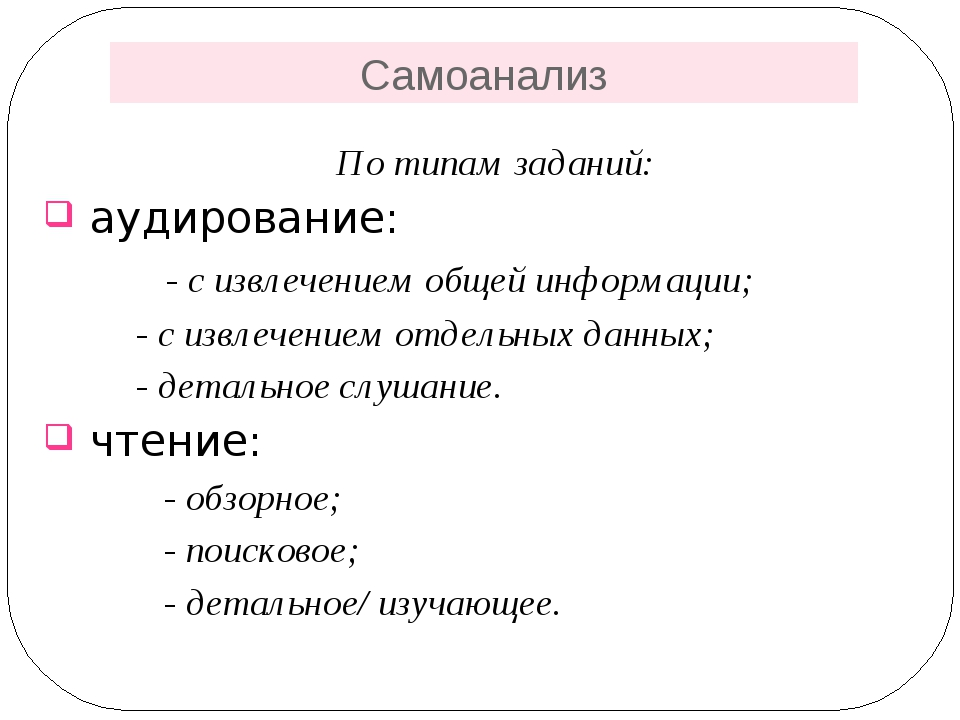 Самоанализ По типам заданий: аудирование: - с извлечением общей информации; -...