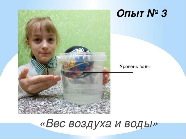 «Вес воздуха и воды»   «Вес воздуха и воды»