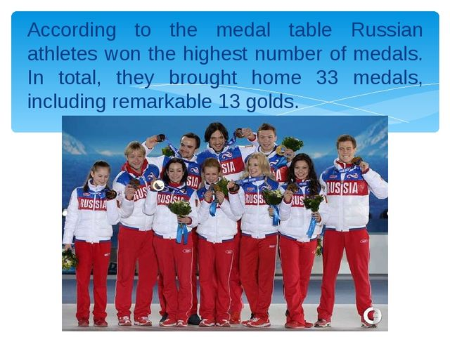 According to the medal table Russian athletes won the highest number of medal...