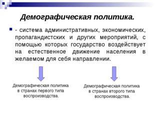 Демографическая политика. - система административных, экономических, пропаган