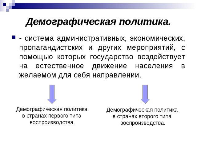 Демографическая политика. - система административных, экономических, пропаган...
