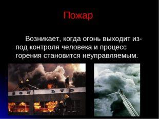 Пожар Возникает, когда огонь выходит из-под контроля человека и процесс горен