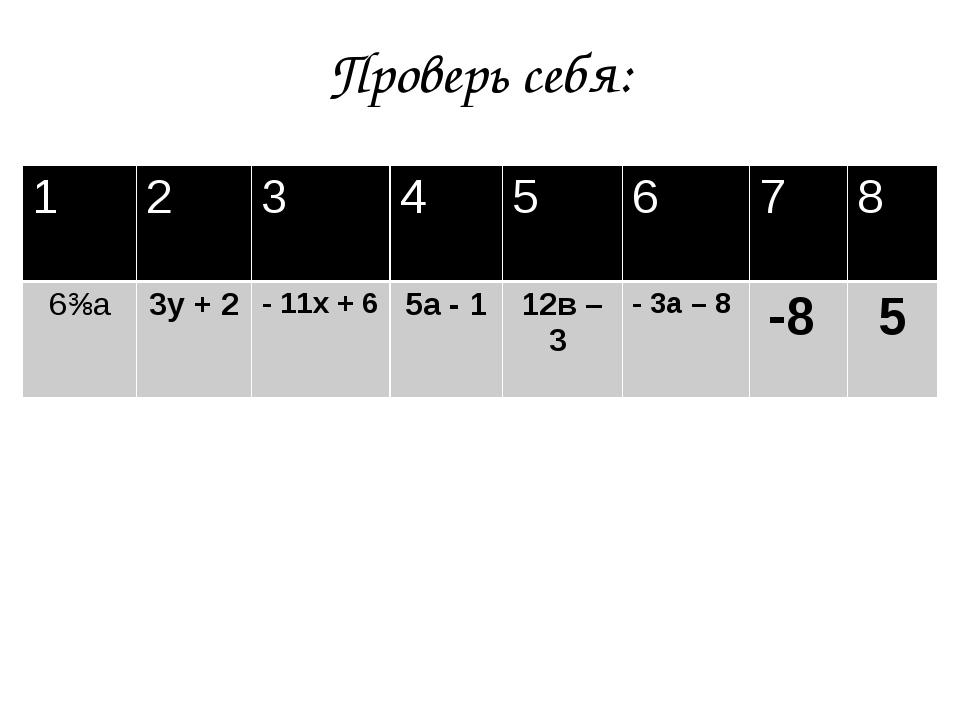 Проверь себя: 1 2 3 4 5 6 7 8 6⅜а 3у + 2 - 11х + 6 5а - 1 12в – 3 - 3а – 8 -8 5