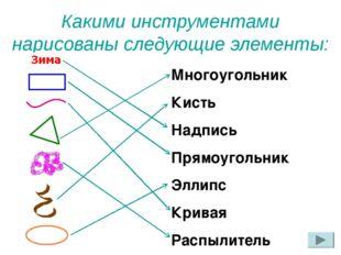 Какими инструментами нарисованы следующие элементы: Многоугольник Кисть Надпи