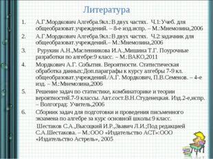 Литература А.Г.Мордкович Алгебра.9кл.:В двух частях. Ч.1:Учеб. для общеобразо