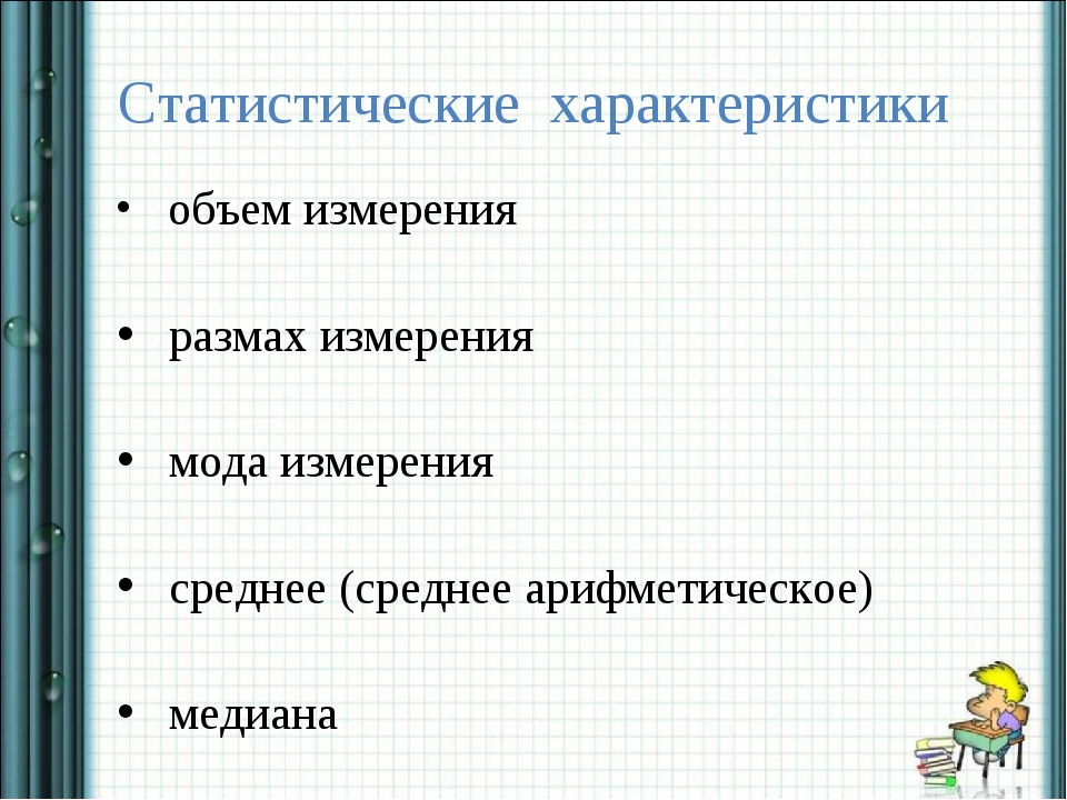 Статистические характеристики объем измерения размах измерения мода измерения...