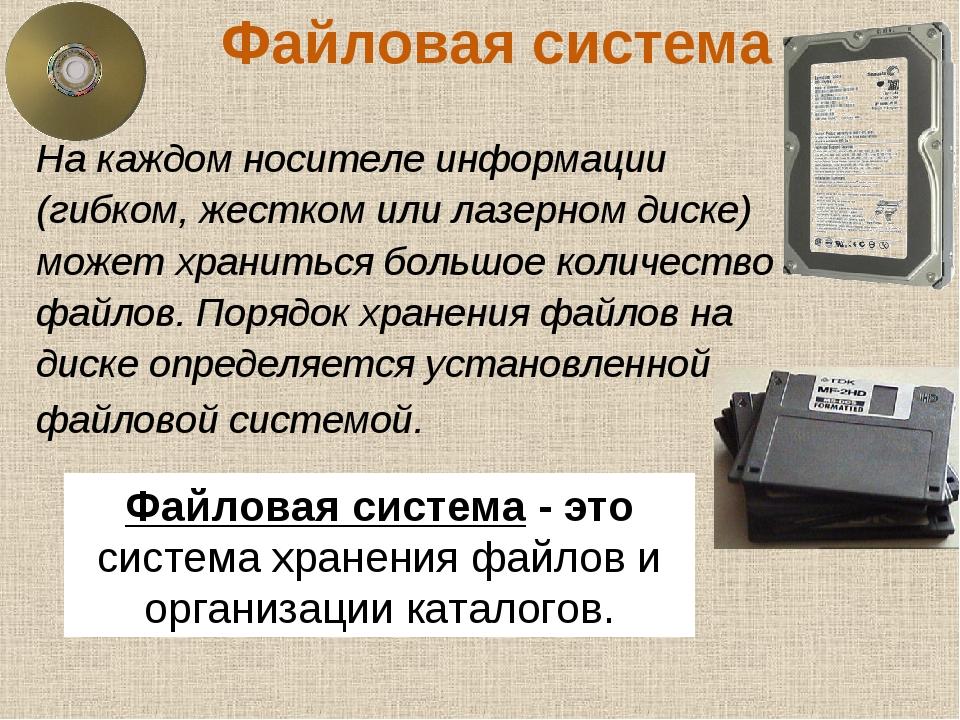 Файловая система На каждом носителе информации (гибком, жестком или лазерном...