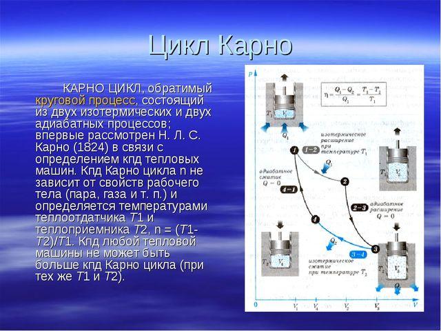 Цикл Карно КАРНО ЦИКЛ, обратимый круговой процесс, состоящий из двух изотер...