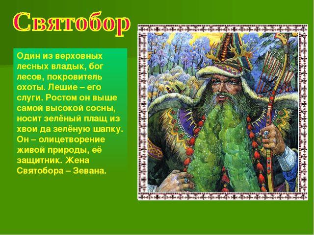 Один из верховных лесных владык, бог лесов, покровитель охоты. Лешие – его сл...
