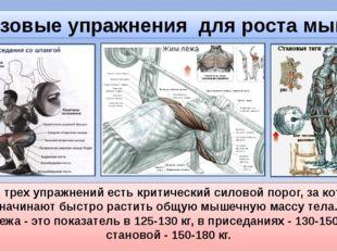 Базовые упражнения для роста мышц У всех трех упражнений есть критический сил