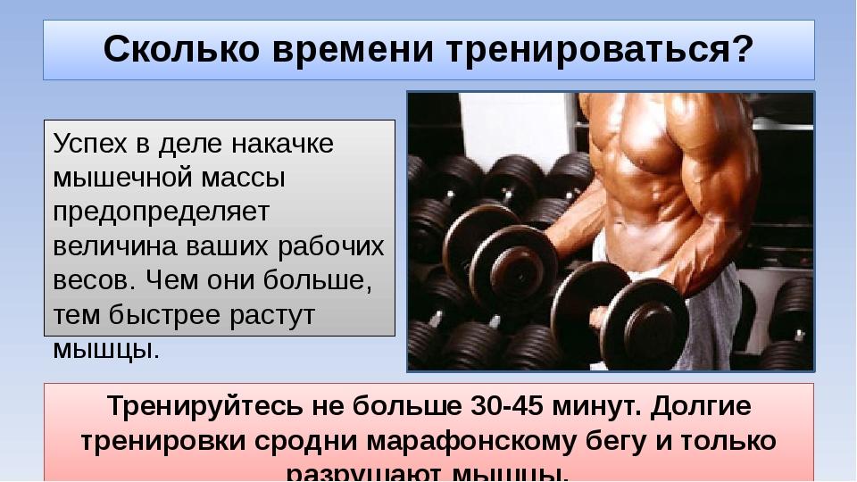 Сколько времени тренироваться? Успех в деле накачке мышечной массы предопреде...
