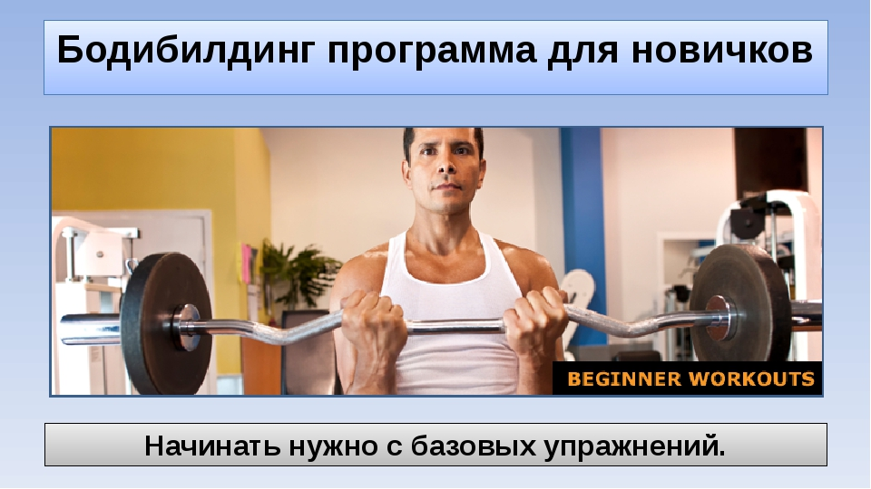 Бодибилдинг программа для новичков Начинать нужно с базовых упражнений.