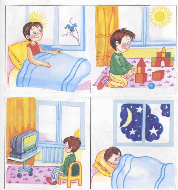 Время суток по часам утро день вечер ночь картинки для детей