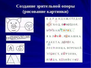 Создание зрительной опоры (рисование картинки)